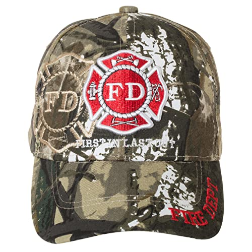 Artisan Owl Fire Department First in Last Out Cap - Firefighter Gift -100% Cotton