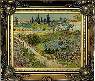 Historic Art Gallery Arles/Flowering Garden with Path by Vincent Van Gogh Framed Canvas Print, Size 8x10, Gold
