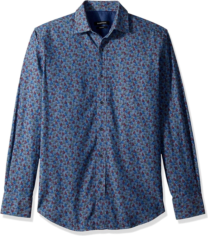 Bugatchi Genuine Men's Shaped Fit Sailboat Shirt 25% OFF Point Collar Print