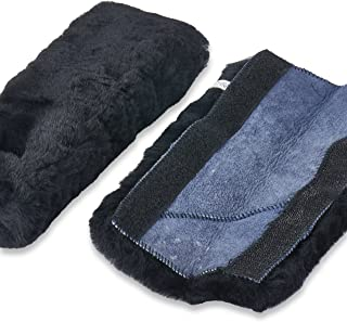 Andalus Authentic Sheepskin SeatBelt Cover, 2 Pack, Seat Belt Covers for Adults, Comfortable Driving, Genuine Natural Merino Wool (Black)