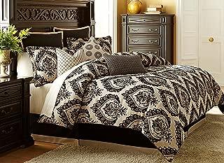 Michael Amini 10 Piece Equinox Comforter Set, King, Black/Off-White