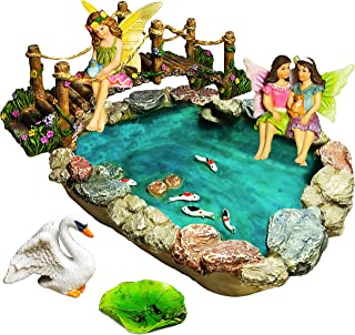 Fairy Garden Fish Pond Kit - Miniature Bridge Fairy Garden Figurines with Accessories - Hand Painted Set of 6 pcs for Outdoor or House Decor