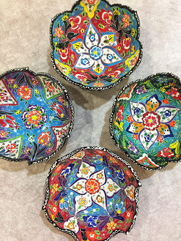 IstanbulArtWorkshop 4x Turkish Sale price Ceramic Bowls Max 57% OFF Colorful Cerami Set