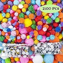 EpiqueOne Huge 2100 Pieces Pom Poms for Crafts Including 100 Colored Googly Eyes. Vivid Multicolor Glitter Pompoms Pink, R...