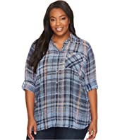 TWO by Vince Camuto - Plus Size Long Sleeve Plaid Textures Georgette Two-Pocket Shirt
