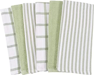 Mixed Flat & Terry Kitchen Towels | Two Sets of 3 18 x 28 Inches | 4 Flat Weave Towels for Cooking and Drying Dishes and 2 Terry Towels, for House Cleaning and Tackling Messes and Spills (Sage)