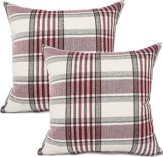 YOUR SMILE Set of 2 Retro Farmhouse Outdoor/Indoor Buffalo Tartan Chequer Stripe Plaid Cotton Linen Decorative Throw Pillow Case Cushion Cover Pillowcase for Sofa Chair,Red, 22x22inch