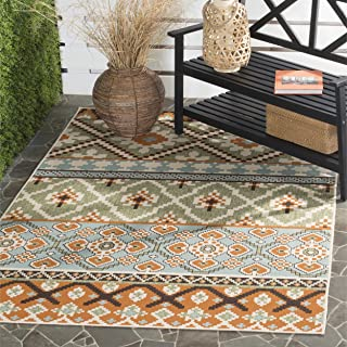Safavieh Veranda Collection VER097-0745 Indoor/ Outdoor Green and Terracotta Contemporary Southwestern Area Rug (6'7