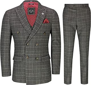 Mens 3 Piece Double Breasted Check Suit Tailored Fit Retro 1920s Style