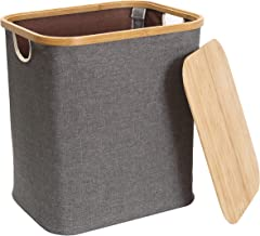 Kueimovi Laundry Basket with Lid 58L Bamboo Frame Dirty Clothes Hamper with Handle, Foldable Laundry Hamper Storage for La...