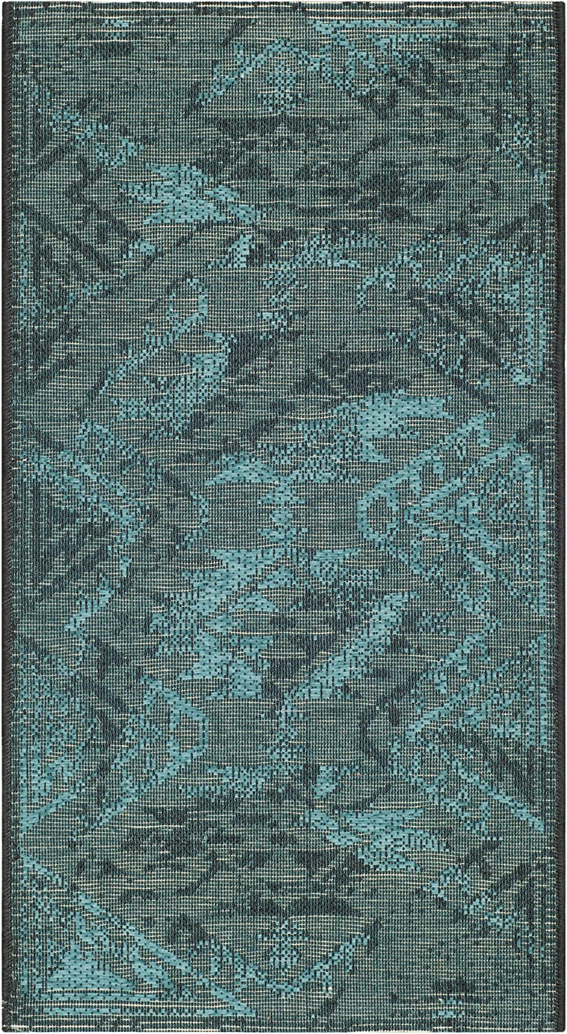 Safavieh Palazzo Collection PAL122-56C4 Black and Turquoise Area Rug, 2 feet 6 inches by 5 feet (2'6  x 5')