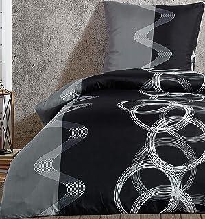 Leonado Vicenti - Bettwäsche Set 100% Baumwolle Renforce grau schwarz Kreise Garnitur Bezug Kissen mit Reißverschluss, Anzahl der Teile:3-teilig 220x240 cm