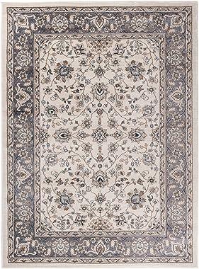 """Grande Tapis d'Orient - BLANC GRIS - Motif Persan Traditionnel et Oriental - Tapis de Salon Ultra Doux - """" AYLA """""""