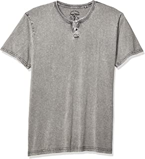 Lucky Brand Mens 7M62395 Sugar Magic Snap Notch Neck Shirt Short Sleeve Shirt