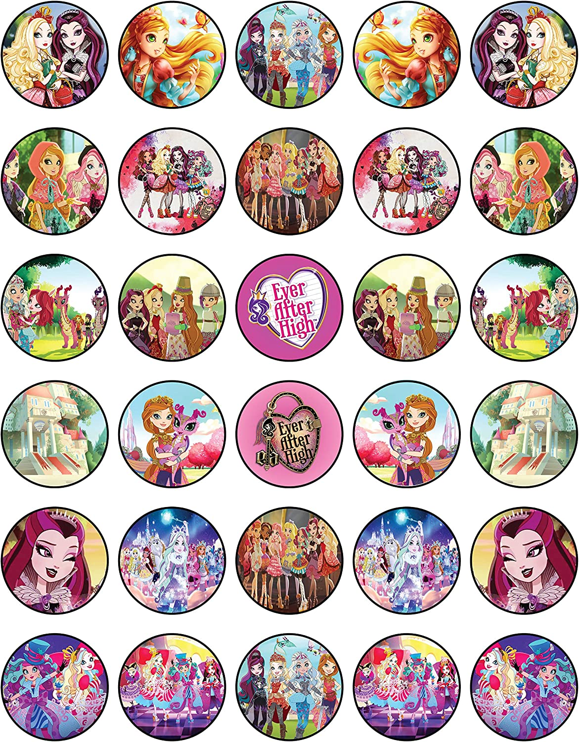 30 x Edible Cupcake Toppers Themed of Ever After High Collection of Edible Cake Decorations | Uncut Edible on Wafer Sheet