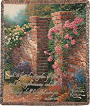 Manual Thomas Kinkade 50 x 60-Inch Tapestry Throw with Verse, Rose Garden
