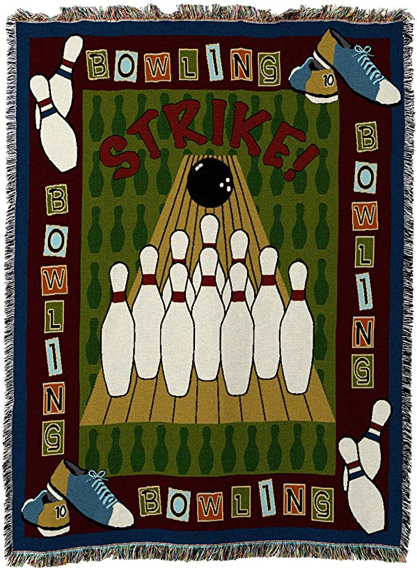 Pure Country Weavers | Bowling Woven Tapestry Throw Blanket with Fringe Cotton USA 72x54