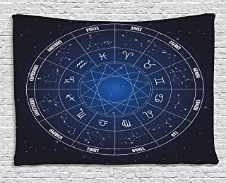 Ambesonne Astrology Tapestry, Zodiac Horoscope Chart in Wheel Shape with Dates in Space Dots Image, Wide Wall Hanging for Bedroom Living Room Dorm, 80