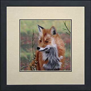 King Silk Art 100% Handmade Embroidery Fox in Autumn Foliage Green Chinese Print Framed Bird Painting Asian Wall Art D¨¦cor Artwork Hanging Picture Gallery 34071WFB1