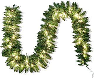 Joiedomi 9Ft Artificial Christmas Garland Prelit with 50 Lights