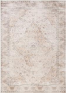 Safavieh Viscose Tapis Rectangulaire Médaillon Vintage Tressé Collection Atlas Blanc Ivoire Beige 99 x 160 cm
