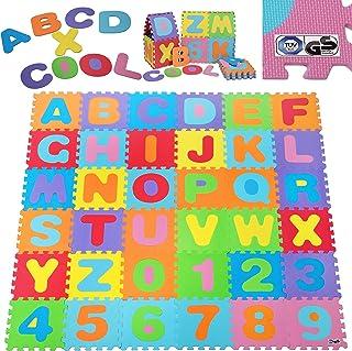 comprar comparacion Deuba Alfombra puzzle para niños bebe 86 piezas 26 letras y números espuma alfombrilla de juego infantil 32 x 32 cm goma