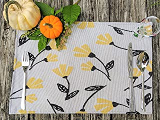 "DaDa Bedding Yellow Fleur Placemats - Set of 4 Tapestry Fresh Sunshine Floral Design - Decorative Cotton Linen Woven Dining Table Mats - 13"" x 19"" (18112)"