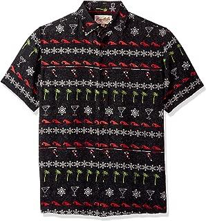 Men's Short Sleeve Holiday Party Print Shirt