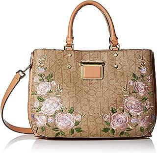 Calvin Klein womens Calvin Klein Dani Floral Embroidered Triple Compartment Satchel