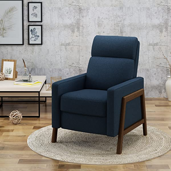 Christopher Knight Home 304577 Chris Recliner Navy Blue Espresso