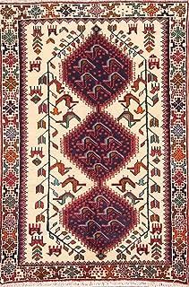 One-of-A-Kind Turkoman Tribal Geometric Animal Print Hand-Knotted 3x5 Beige Wool Persian Area Rug (5' 0