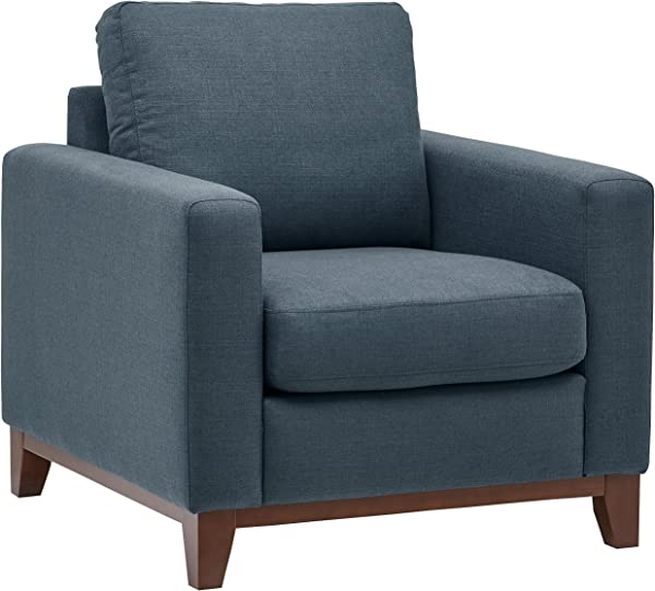 Rivet North End Wood Accent Living Room Arm Chair 38 W Denim