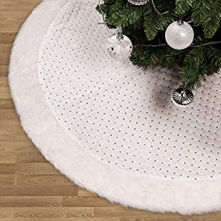 Valery Madelyn 48 inch Frozen Winter Silver White Christmas Tree Skirt with Sequins and Faux Fur, Themed with Christmas Ornaments (Not Included)