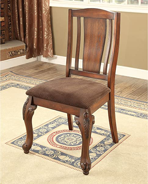 Furniture Of America Hannel Traditional Floral Carved Fabric Brown Cherry Dining Chair Set Of 2