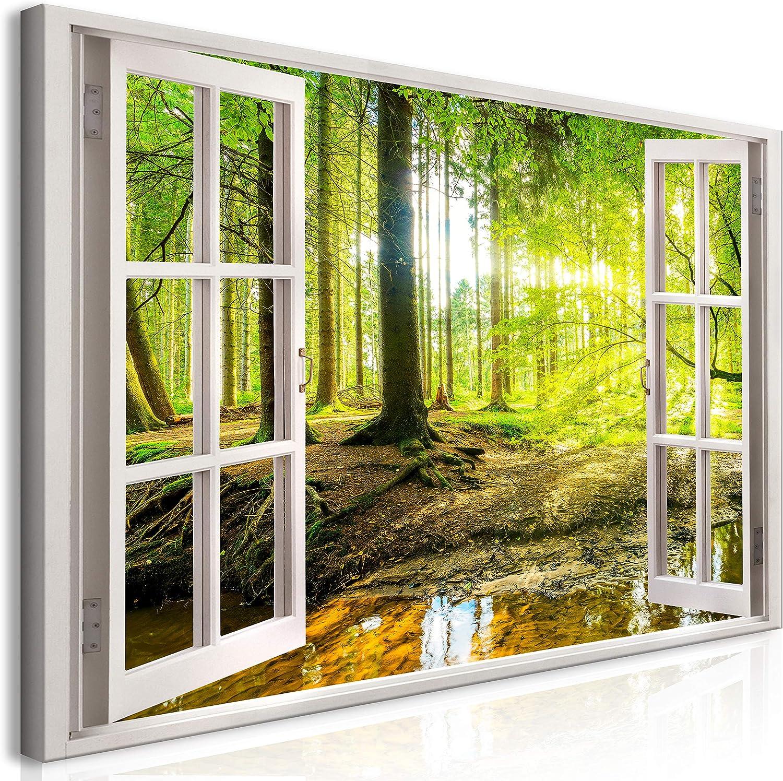 Murando Mega XXXL Fensterblick Wandbild 170x85 cm - Einzigartiger XXL Kunstdruck zur Selbstmontage Leinwandbilder Moderne Bilder Wanddekoration - Fenster Wald Baum c-C-0084-ak-e