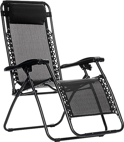 Amazon Basics Chaise de camping pliable zéro gravité Noir