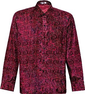Thai Silk Men's Shirt Long Sleeve Paisley Pattern