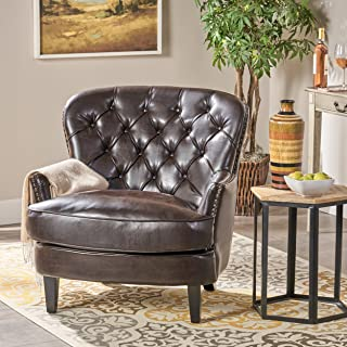 Christopher Knight Home Alfred Tufted Bonded Club, Contemporary Lounge Accent Chair, Brown Leather