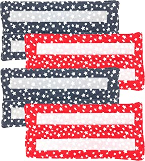 Reusable Wet Mop Pads for Swiffer Wet Jet, Washable Cotton Eco-Friendly Refill Replacement Mop Pads for Wet Floor Mopping (Red White & Blue Stars) 4-pack