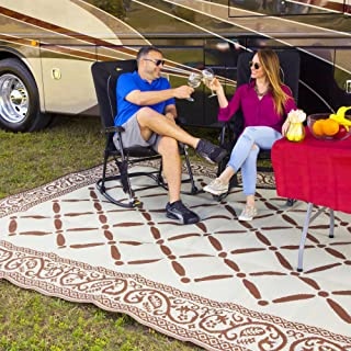 Reversi Mats (9' x 12') Large Mat and Rug for Outdoors, RV, Patio, Trailer & Camping - Heavy Duty, Weather Resistant Reversible Rugs - Comes with Storage Bag - Great for Picnics - Brown/Beige