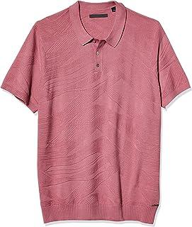 Sean John Men's Short Sleeve Jacquard Curve Lines Polo Sweater