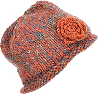 Women's Knitted Beanie Floral Beret Hat Ribbed Beanie Hat