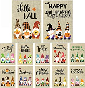 GROBRO7 12Pcs Gnome Seasonal Garden Flag Set for Hello Summer Halloween Fall Holiday Outdoor Party Decoration Double Sided Print Burlap House Yard Flag for Thanksgiving Christmas New Year 12x18 Inch