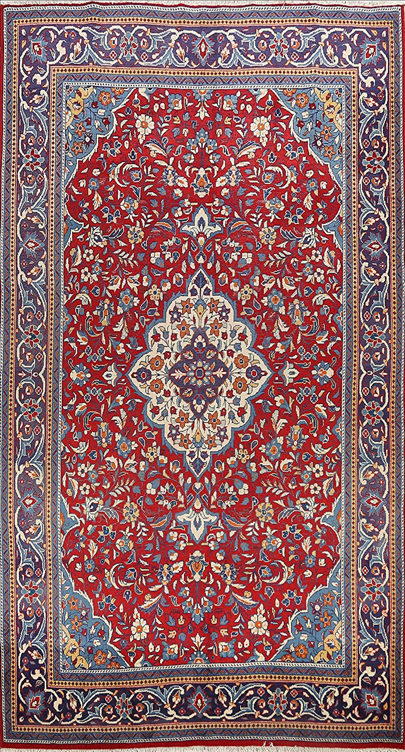 Red Floral Sarouk Oriental Limited price Area 70% OFF Outlet Rug Hand-Knotted Living Roo Wool
