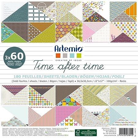 Artemio 11002254 Set de 180 Feuilles pour Scrapbooking, After Time, Papier, Multicolore, 30,5 x 2,3 x 30,5 cm