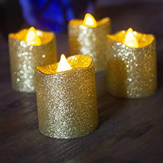 Gold Flameless Votive Candles,Battery Operated Gold Glitter LED Tea Light Candles for Party,Table,Wedding Centerpieces,Chr...