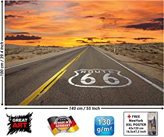 Posters – Route 66 Mural – Decoration America Highway Chicago California Trips Vacation Sunset Desert USA Scenery Set Wallposter Photoposter (55 x 39.4 Inch / 140 x 100 cm)