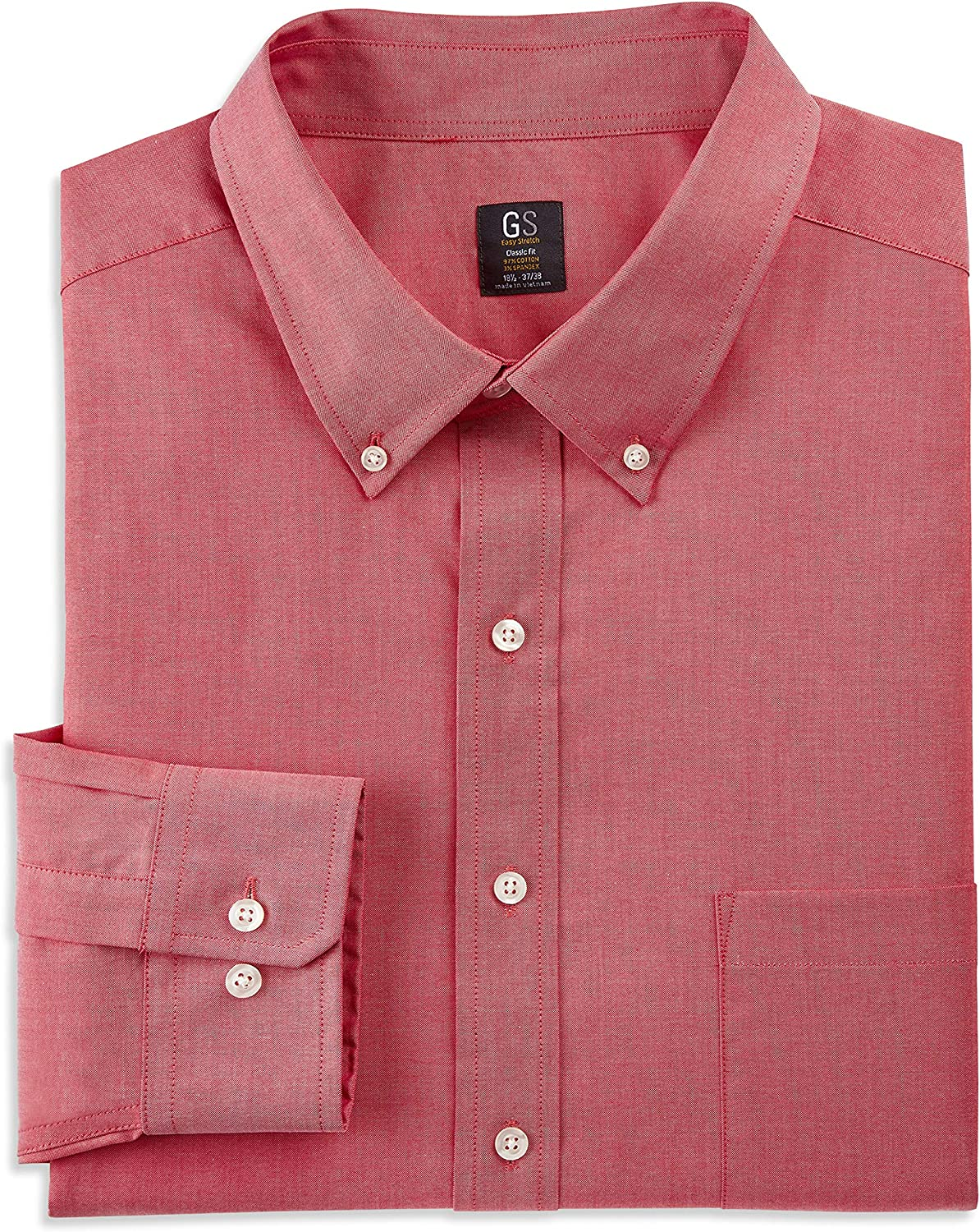 DXL Gold Series Big and Tall Oxford Easy Stretch Dress Shirt, Red