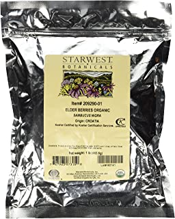 Starwest Botanicals Organic Dried Elder Berries, 1 Pound Bulk
