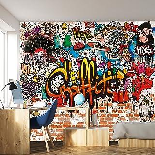 murimage Papel Pintado Grafiti 366 x 254 cm Incluyendo Pegamento Hip Hop Cuarto de los Niños Graffiti Art Grunge Arcoiris ...